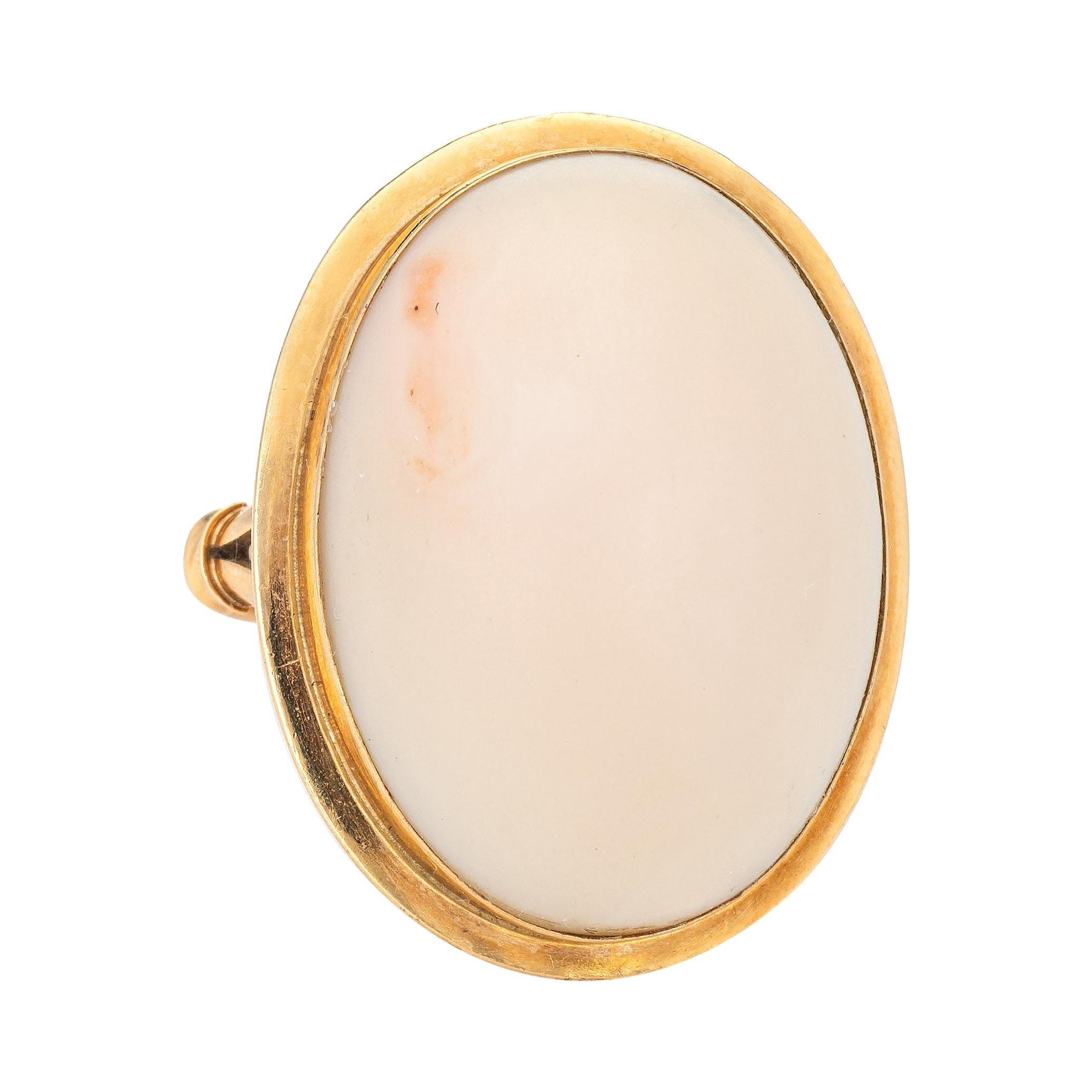 Angel Skin Coral Ring Vintage 18k Gold Large Oval Cocktail Jewelry Estate