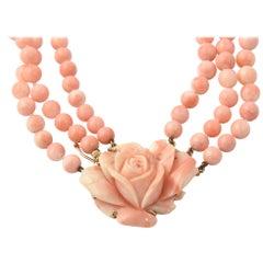 Angel Skin Coral Triple Strand Flower Necklace