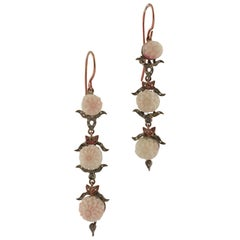 Angel Skin Pink Coral Diamonds Rose Gold and Silver Pendant Earrings