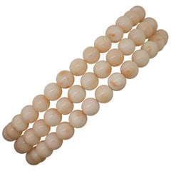 Pink Coral Spheres, 18K Yellow Gold Closure Link Bracelet