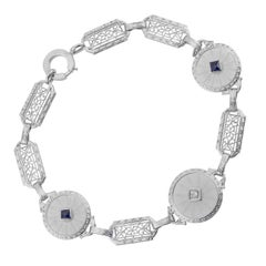Angel Skin Quartz Sapphire Diamond White Gold Filagree Bracelet