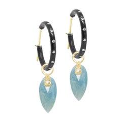 Angel Wings Aquamarine 18 Karat Gold Earrings