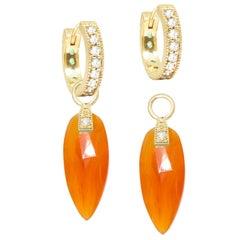 Angel Wings Carnelian 18 Karat Gold Earrings