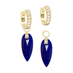 Angel Wings Lapis Reversible Convertible 18 Karat Gold Hoop Earrings