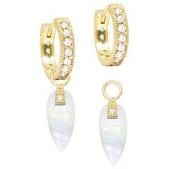 Angel Wings Moonstone 18 Karat Gold Earrings