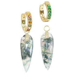 Angel Wings Moss Agate Charms and Intricate 18 Karat Gold Reversible Huggies