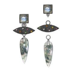 Angel Wings Moss Agate Earrings