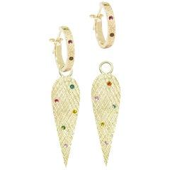 Angel Wings Multi Tourmaline 18 Karat Gold Earrings