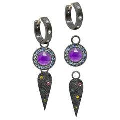 Angel Wings Tourmaline Charms and Florentine Oxidized Hoop Earrings