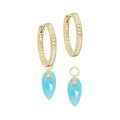 Angel Wings Turquoise Gold 18k Earring Charms