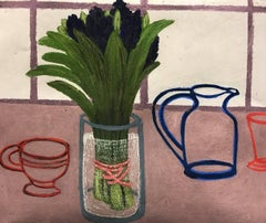 Untitled, soft pastel on paper, 15.5 x 18.25 inches. Abstract still life