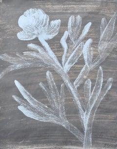 Baby Blue Peony, light blue still life of flower, work on paper