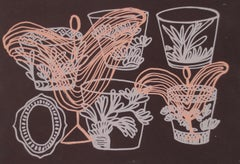 Every Moment, brown and pink print of cups, work on paper