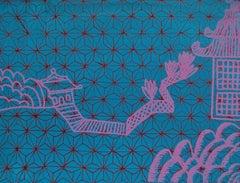 Garden Path, blue and purple geometric print on paper