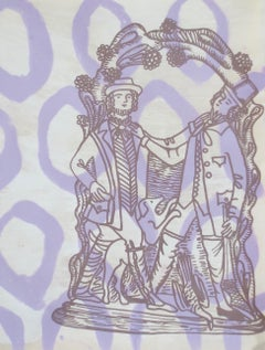 Hunters, purple print of two hunters and their dog