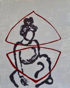 Resting Dancer, neutral female figure, work on paper