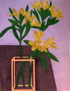 Edwin's Flowers, vase of yellow flowers, soft pastel on paper still life