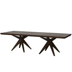 Angela Adams Double Bonfire Dining Table, Walnut, Seats 12, Handcrafted, Modern
