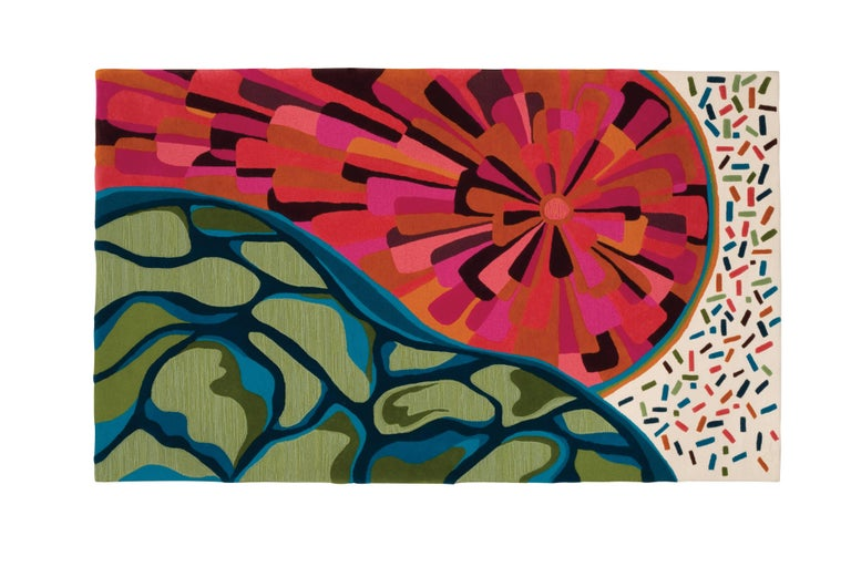 Angela Adams Sunset Area Rug and Tapestry, One-of-a-Kind, Handcrafted, Modern In New Condition For Sale In Portland, ME