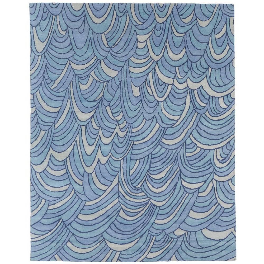 Angela Adams Surf, Blue Area Rug, 100% New Zealand Wool, Hand-Knotted, Modern