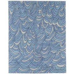 Angela Adams Surf, Blue Area Rug, 100% New Zealand Wool, Hand-Knotted, Modern