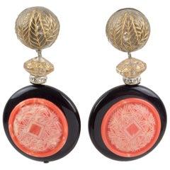 Angela Caputi Asian Inspired Resin Clip Earrings Coral Black