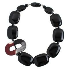 Angela Caputi Black and Burgundy Resin Choker Necklace