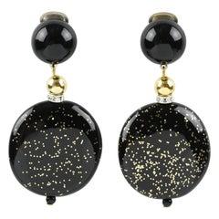 Angela Caputi Black Gold Flakes Dangle Resin Clip Earrings