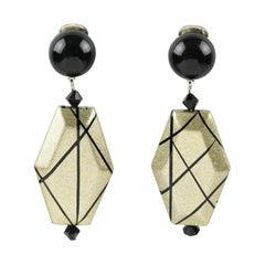Angela Caputi Black Pale Gold Dangle Resin Clip Earrings