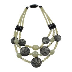 Angela Caputi Cascading Green Black Resin Necklace
