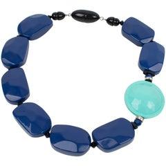 Angela Caputi Cobalt and Baby Blue Resin Choker Necklace
