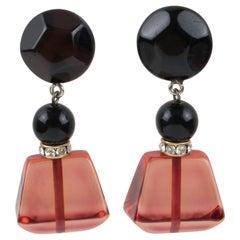 Angela Caputi Dangle Black and Cranberry Resin Clip Earrings