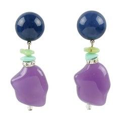 Angela Caputi Dangle Blue and Lavender Resin Clip Earrings