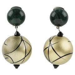 Angela Caputi Dangle Resin Clip Earrings Dark Green and Pale Gold