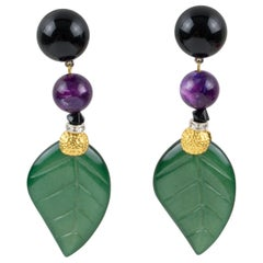 Angela Caputi Dangle Resin Clip Earrings Green Purple Leaves