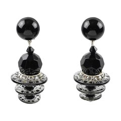 Angela Caputi Dangling Clip On Earrings Cascading Black & Crystal Resin Beads