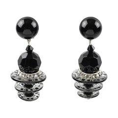 Angela Caputi Dangle Resin Clip Earrings Black and Crystal Beads
