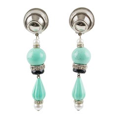 Angela Caputi Dangling Clip On Earrings Turquoise Resin Silvered Metal Pearl