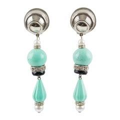 Angela Caputi Dangle Clip Earrings Turquoise Resin and Pearl