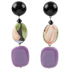 Angela Caputi Floral Purple Dangle Resin Clip Earrings