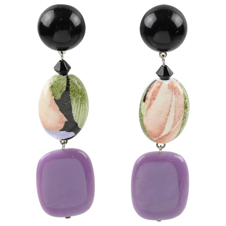 Angela Caputi Floral Purple Dangle Resin Clip Earrings For Sale