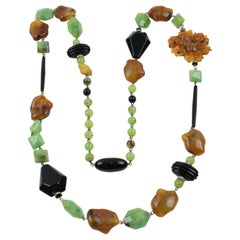Angela Caputi Long Necklace Black Jade Carnelian Resin Bead