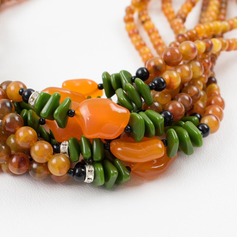 Angela Caputi Italy Multi-strand Necklace Saffron Green Orange Resin Beads For Sale 6