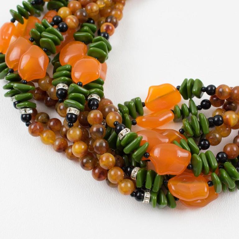 Angela Caputi Italy Multi-strand Necklace Saffron Green Orange Resin Beads For Sale 8