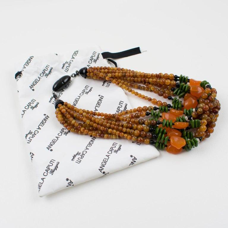 Angela Caputi Italy Multi-strand Necklace Saffron Green Orange Resin Beads In Excellent Condition For Sale In Atlanta, GA