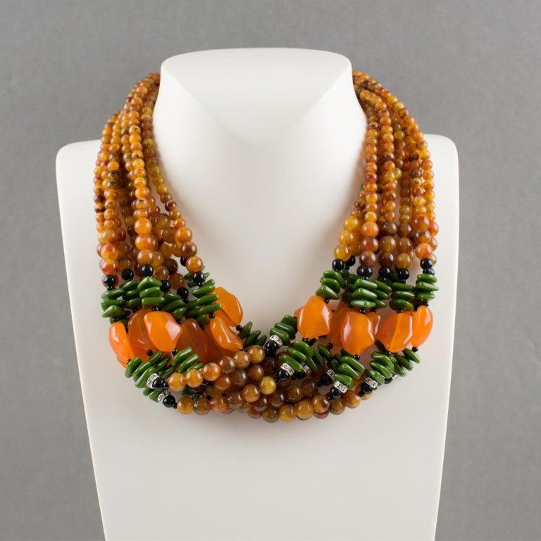 Women's or Men's Angela Caputi Italy Multi-strand Necklace Saffron Green Orange Resin Beads For Sale