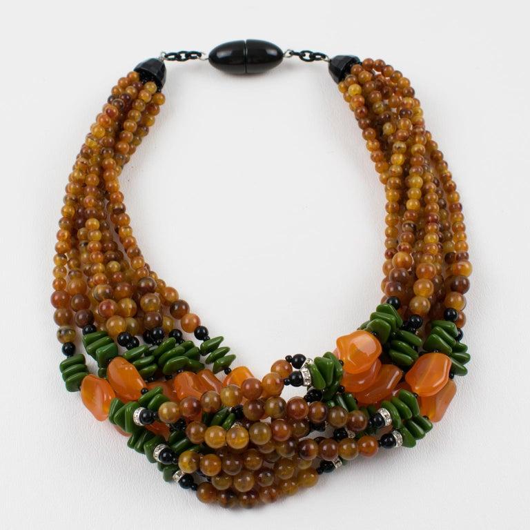 Angela Caputi Italy Multi-strand Necklace Saffron Green Orange Resin Beads For Sale 1