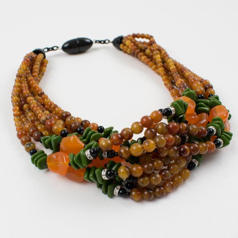 Angela Caputi Italy Multi-strand Necklace Saffron Green Orange Resin Beads For Sale 2