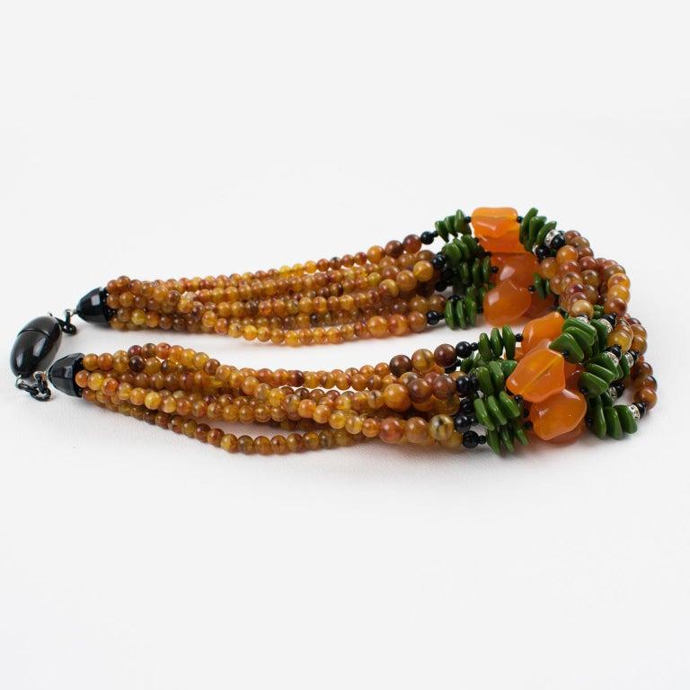Angela Caputi Italy Multi-strand Necklace Saffron Green Orange Resin Beads For Sale 3