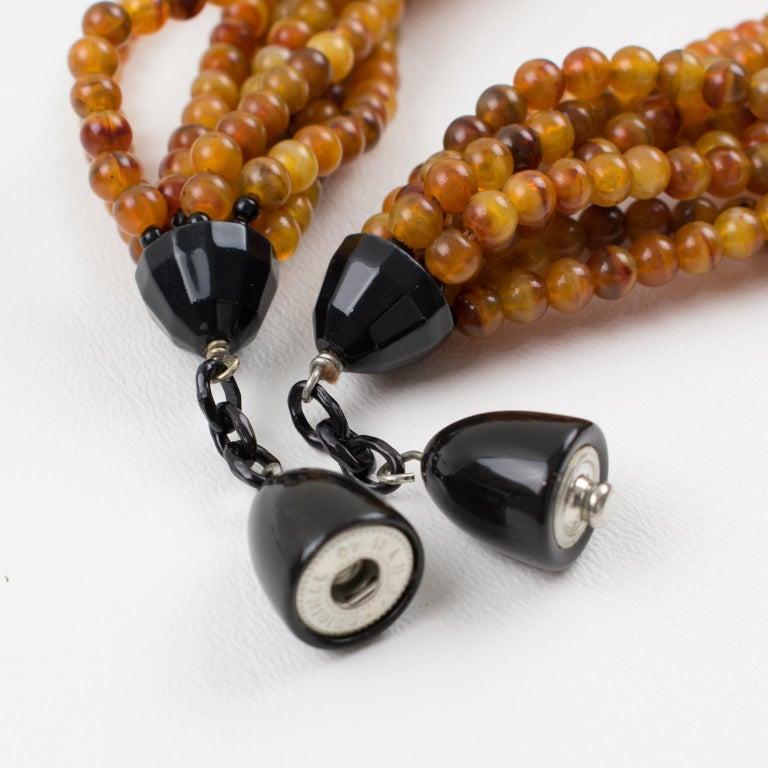 Angela Caputi Italy Multi-strand Necklace Saffron Green Orange Resin Beads For Sale 4